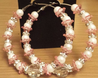 70mm hoop with pink and white beads