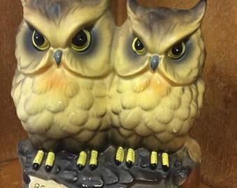 Vintage Porcelain 1970's Wise Owl Bank