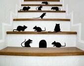 Set of 10 black mice (rats) with entry hole Halloween vinyl decal - Halloween Decor - Seasonal Decor - Halloween