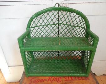 Vintage Green Wicker Shelf