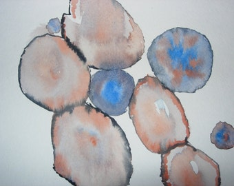 Original watercolor painting abstract , modern art,
