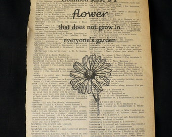 Gardening Common Sense Daisy Flower Dictionary Art Print Book Page Art Home Decor Gallery Wall Humorous Office Decor