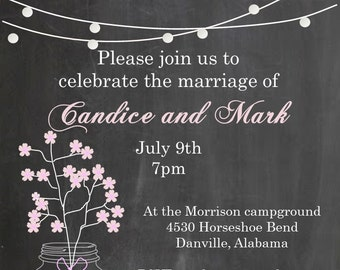 eloping party invitations i do bbq chalkboard and mason jar with sprigs sar2054