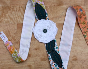 Frayed Flower Headband, Boho Shabby Cotton Head Wrap, White, Orange and Teal Patchwork, with Raveled Rose Applique
