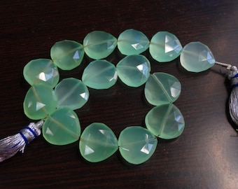 8-inch strand 15 mm matched stones Prehnite Green Chalcedony faceted heart shape briolette