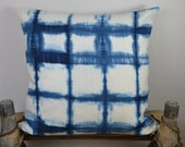 "Indigo Pillow Cover, Shibori Style,Linen  Blue and White 20"" X 20"""