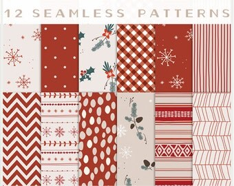Holiday - JPG Files - Seamless Patterns - Digital Scrapbook - Paper Pack