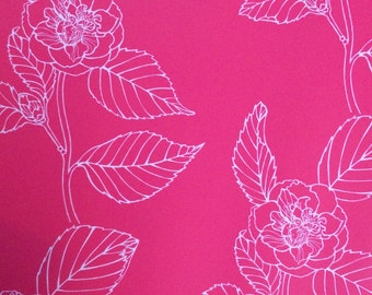 Wallpaper- Camelia self adhesive removeable wallpaper in bright pink with pale pink flowers.