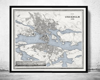 Old Map of Stockholm, Sweden 1844 Antique Vintage