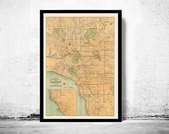 Vintage Map of Melbourne City 1913  , Australia Oceania