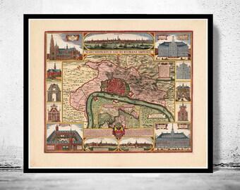 Old Map of Antwerp, Belgium 1675 Anvers antique map *