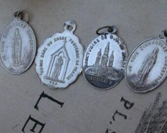 Lot 4pcs antique sterling silver our lady Notre dame de Lourdes Chene religious medals  pendant cross reliquary