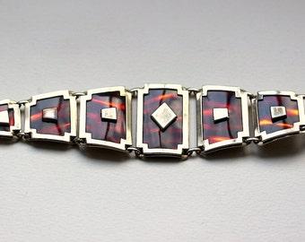 1960s Leru faux tortoise goldtone  graduated link bracelet