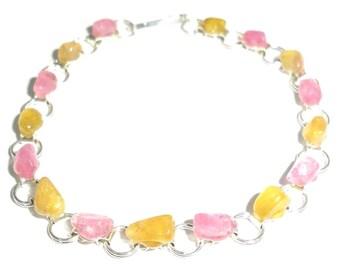 Yellow Pink Tourmaline Bracelet Russia Transbaikalia