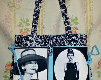 Audrey Tote bag purse Made to order Audrey Hepburn Black white and turquoise
