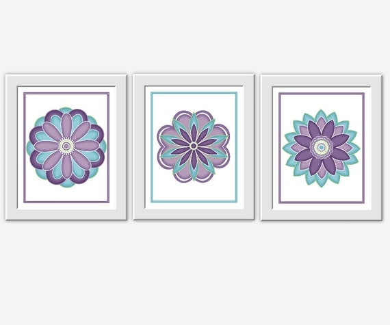 Teal Flower Wall Decor : Modern floral wall art purple teal lavender baby nursery