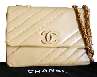 Authentic Vintage Chanel Cross CC Jumbo Double chain Bag