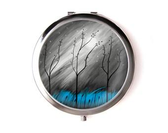 Mystical trees pocket mirror & Organza pouch
