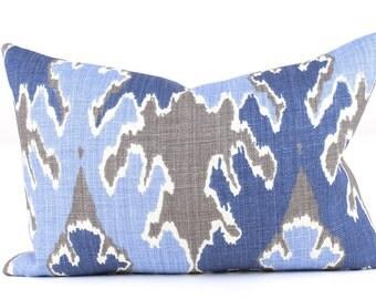 Kelly Wearstler BENGAL BAZAAR Pillow Cover in Grey/Indigo Blue Lee Jofa,  Lumbars, Accent Pillow, Toss Pillow