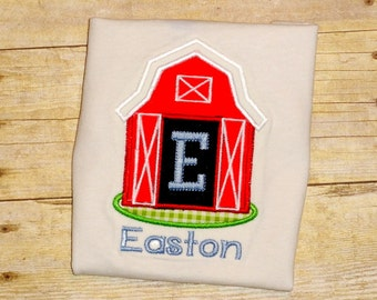 boys farm barn barnyard birthday shirt little boy personalized farm shirt with name and initial or number