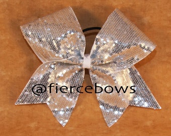 Silver Sparkle Cheer Bow