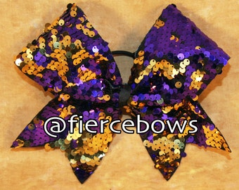 Purple and gold Reversible Sequin Cheer Bow