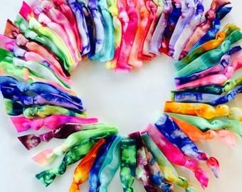 50 Tie Dye Hair Ties-Ponytail Holders by Elastic Hair Bandz