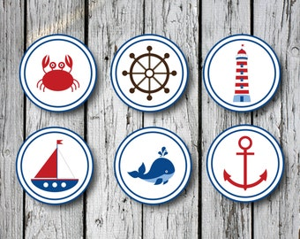 Nautical Circle Stickers- Digital File DIY Instant Download