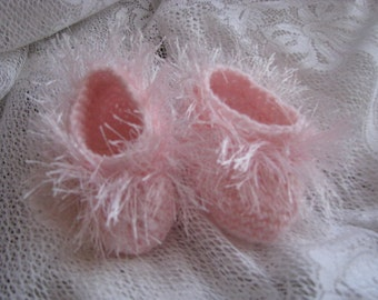 Baby Booties, Crochet Baby Booties, Pink Booties, 0 to 6 months, Pink Crochet Booties, Newborn Booties Newborn Slippers Booties