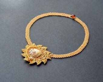 OOAK Bead Embroidery Necklace with Owyhee Jasper