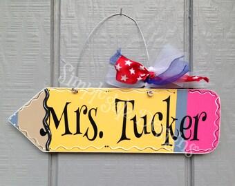 Teacher  Sign, Personalized, Hand Painted, Vinyl, Classroom Decor,Teacher Gift, Appreciation Gift