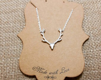 Sterling silver deer skull necklace