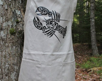 SALE!!! Full Length Apron with Lobster Tribal Tattoo Design -  Screen Printed Original Design