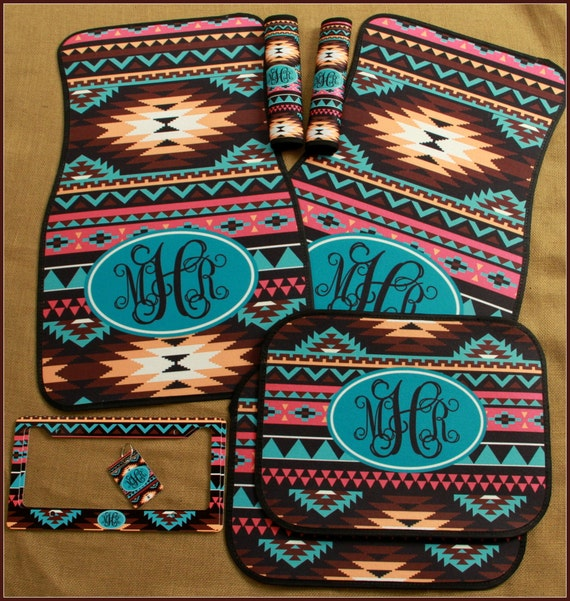 Car Mats Monogrammed Gifts Aztec Tribal Personalized Custom