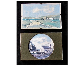 2 miniature Irish prints Bronte House and Church County Down B Cheney Mourne Cottages G J A Carson 1980s rural scenes landscapes Ireland (X)