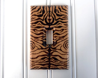 Wood burned Light Switch Cover / Switch Plate / Wall Plate – Zebra Skin Pattern
