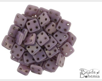 60 pcs Chalk Lilac Luster CzechMates QuadraTile Beads 6 mm (9289)