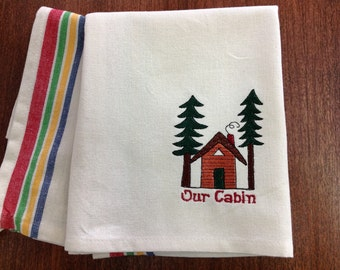 """Retro """"Our Cabin"""" Dish Towel"""