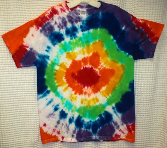 Hand Dyed Rainbow Swirl Adult Tie Dye T-Shirt