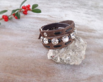 Brown leather bracelet, wrist wrap bracelet, rhinestone leather cuff, cool jewelry