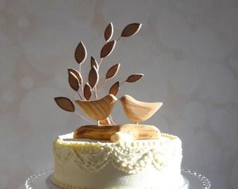 Bird Wedding Cake Topper, Wooden Cake Topper, Love Bird Cake Topper for Your Rustic Wedding
