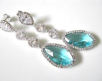 LUX Bridal Earrings, LUX Bridal Jewelry, Blue Zircon Bridal Earrings, Cubic Zirconia Teardrop Earrings, Bridesmaid Earrings, Wedding Jewelry