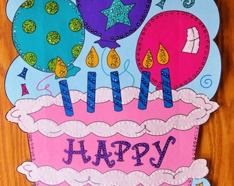 Happy Birthday Banner is embellished entirely with hand sewn sequins and beads.