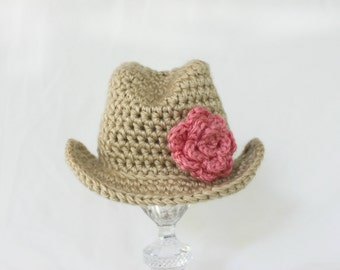 Baby Cowgirl Hat with Flower- Baby Girl Crochet Hat - Newborn Girl Prop- Baby Girl Prop - Crochet Cowboy Hat - Cowgirl Theme Prop