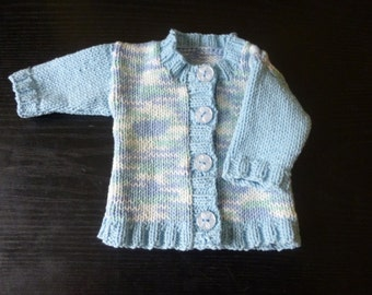 Handmade knitted baby boys multi coloured blue round necked cardigan. - prem - 3 months