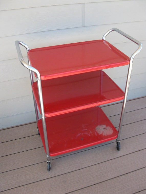 Vintage Metal Rolling Cart 3 Tier 3 Shelf Red Storage