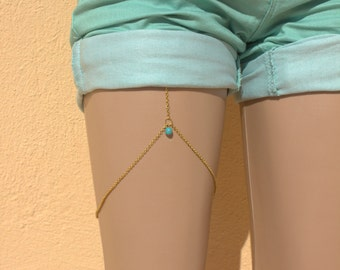Leg Chain-Evileye-Turquoise-Gold plated