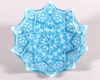 Turquoise Star Ring Dish - Lotus Flower Ceramic Soap Dish - Sushi Plate - Spoon Rest