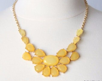 Yellow Sun Flower Statement Necklace Yellow Bib Necklace