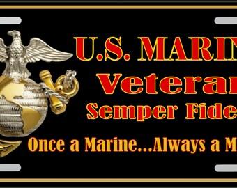 U S Marine Veteren License Plate Black background